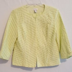 Chico's Soft Lime Top Closure Lined Jacket SZ 0